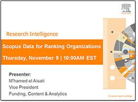 Webinar: Scopus Data for Ranking Organizations